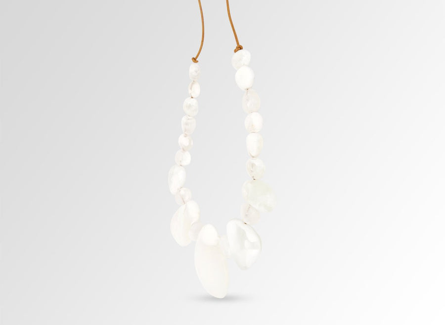 Resin Riverstone Necklace - Snow Swirl
