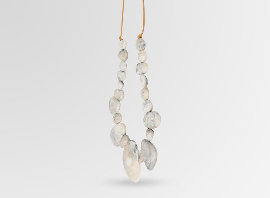 Resin Riverstone Necklace - Sandy Pearl