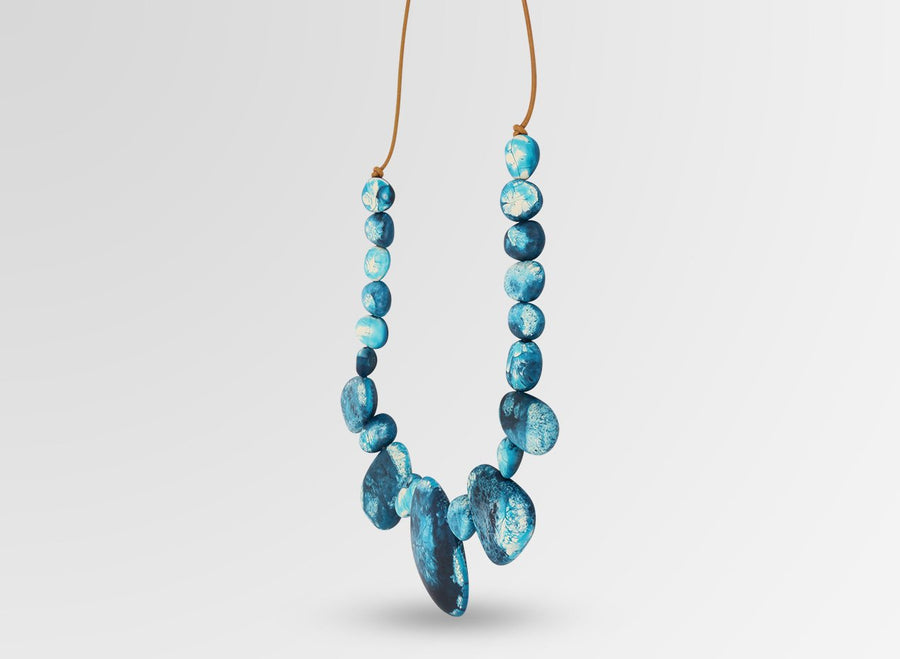 Resin Riverstone Necklace - Moody Blue