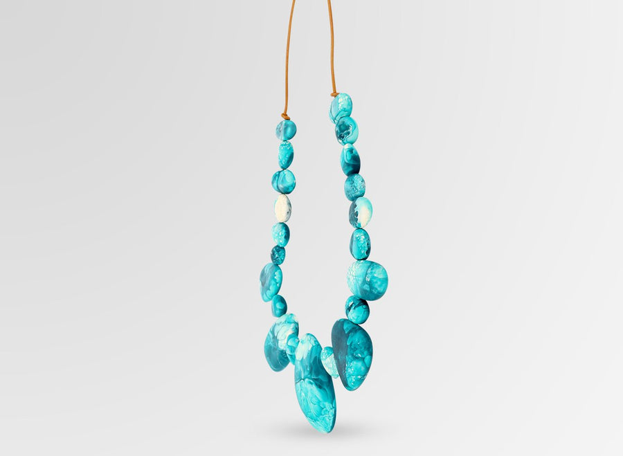 Resin Riverstone Necklace - Lagoon