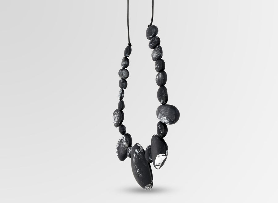 Resin Riverstone Necklace - Black Marble