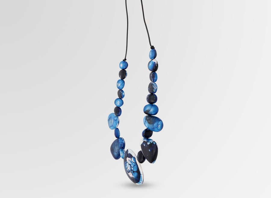 Resin Riverstone Necklace - Lapis Swirl