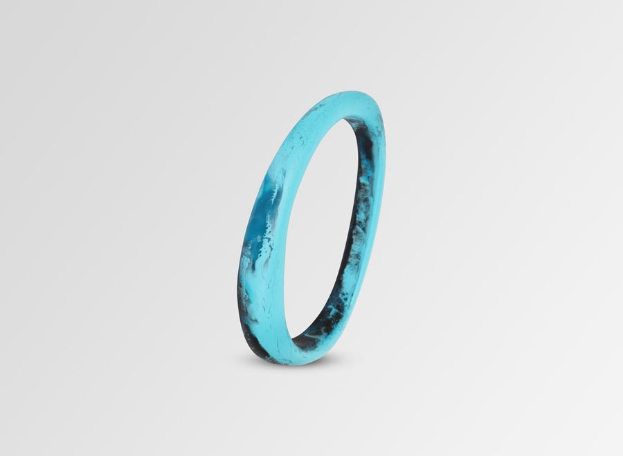 Resin Rock Wishbone Bangle - Dark Turquoise