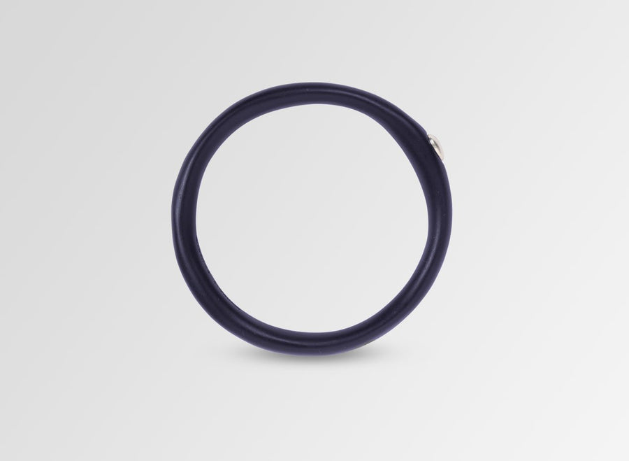 Silver Round Rock Wishbone Bangle - Dark Navy