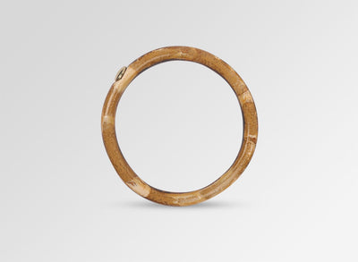 Brass Round Rock Wishbone Bangle - Dark Horn