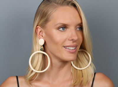 Brass Sand Hoop Drop Earrings - Cream