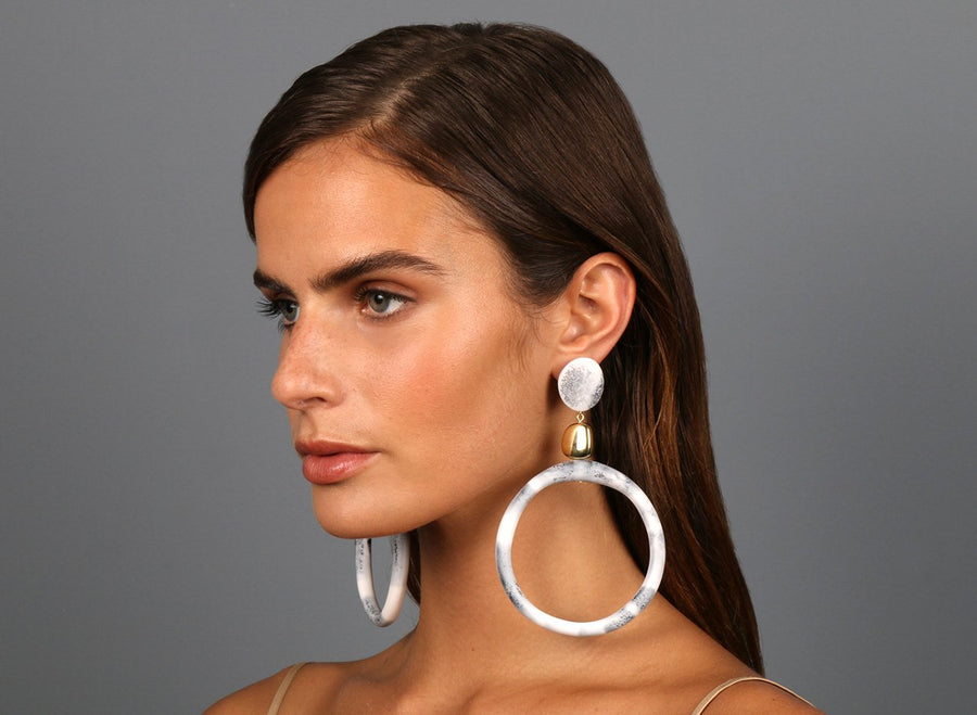 Brass Sand Hoop Drop Earrings - White Marble