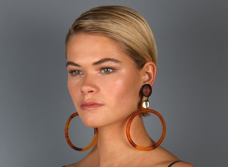 Brass Sand Hoop Drop Earrings - Tortoiseshell