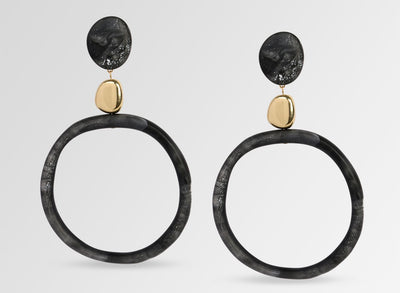 Brass Sand Hoop Drop Earrings - Black Marble