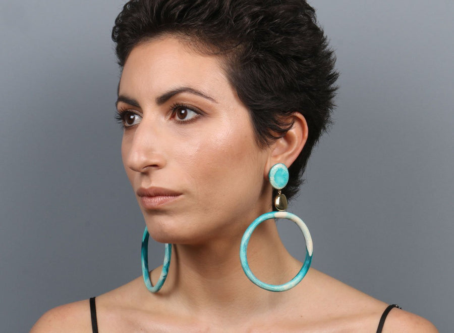 Brass Sand Hoop Drop Earrings - Lagoon