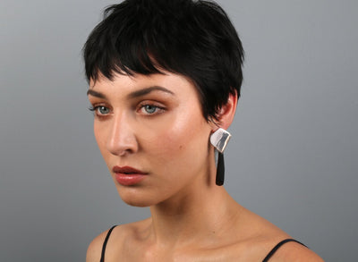 Origami Drop Earrings - Black