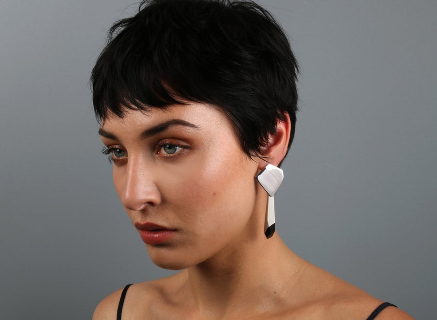 Origami Drop Earrings - Black Dot on Chalk
