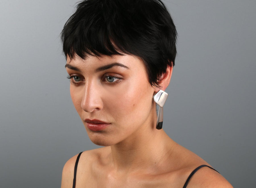 Origami Drop Earrings - Black Dot on Charcoal