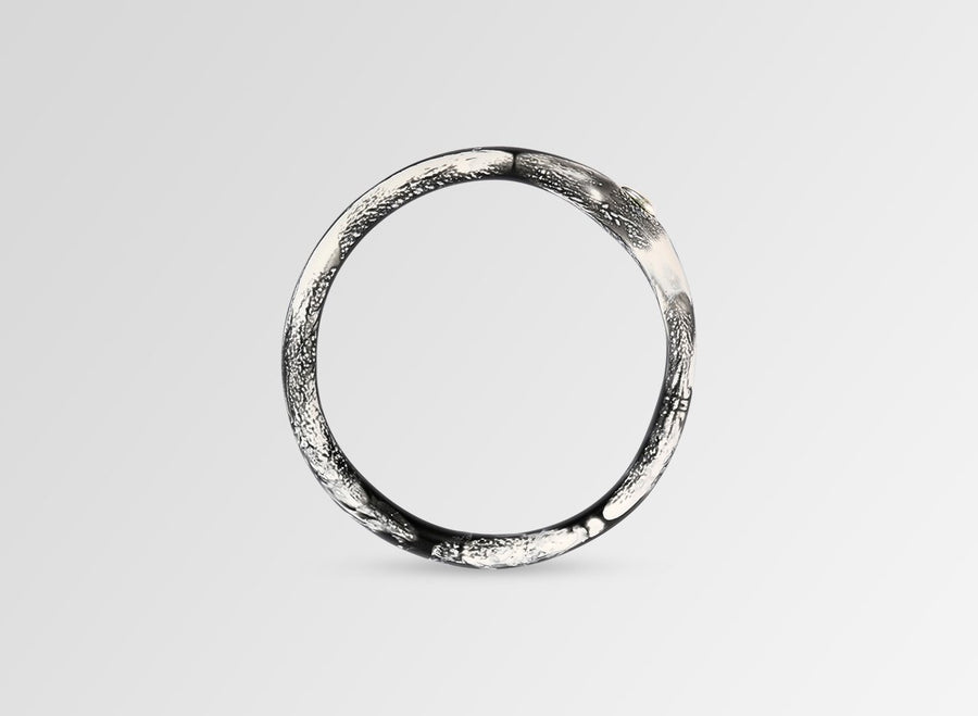 Silver Round Rock Wishbone Bangle - Black Marble