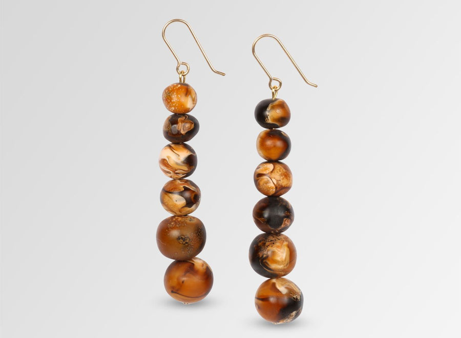 Resin Six Ball Earrings on Wire - Dark Horn