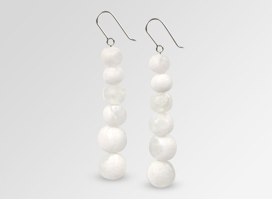 Resin Six Ball Earrings on Wire - Snow Swirl