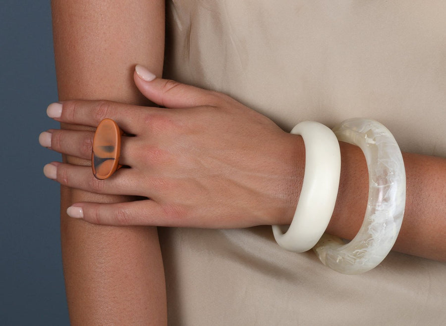 Small Resin Band Bangle - Cream