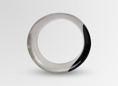 Small Resin Bow Bangle - Black Dot on Charcoal