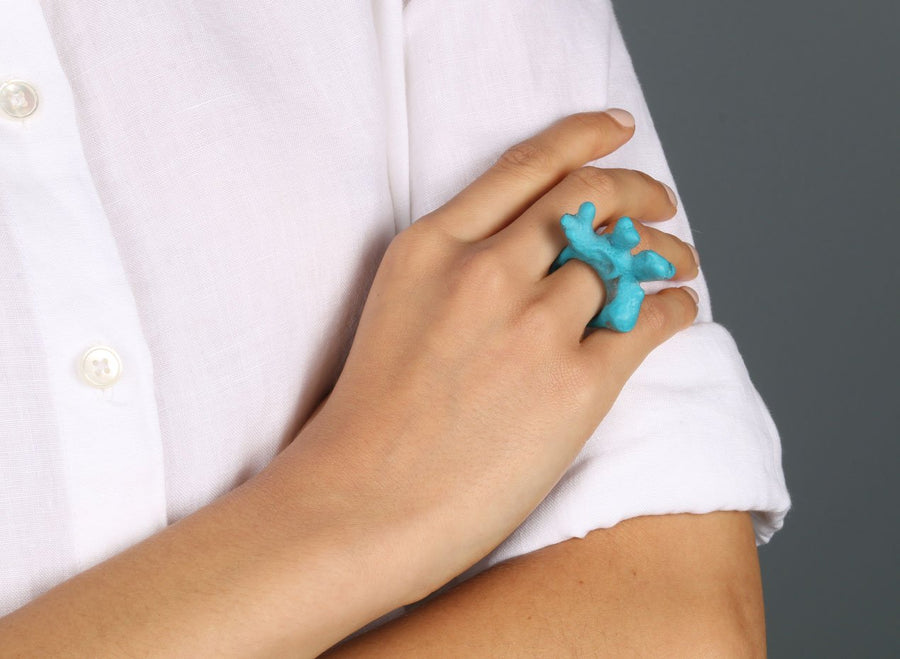 Small Resin Coral Ring - Turquoise