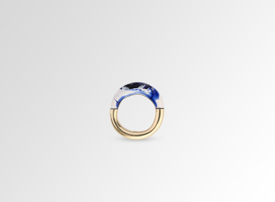 Small Horn Ring - Lapis Swirl