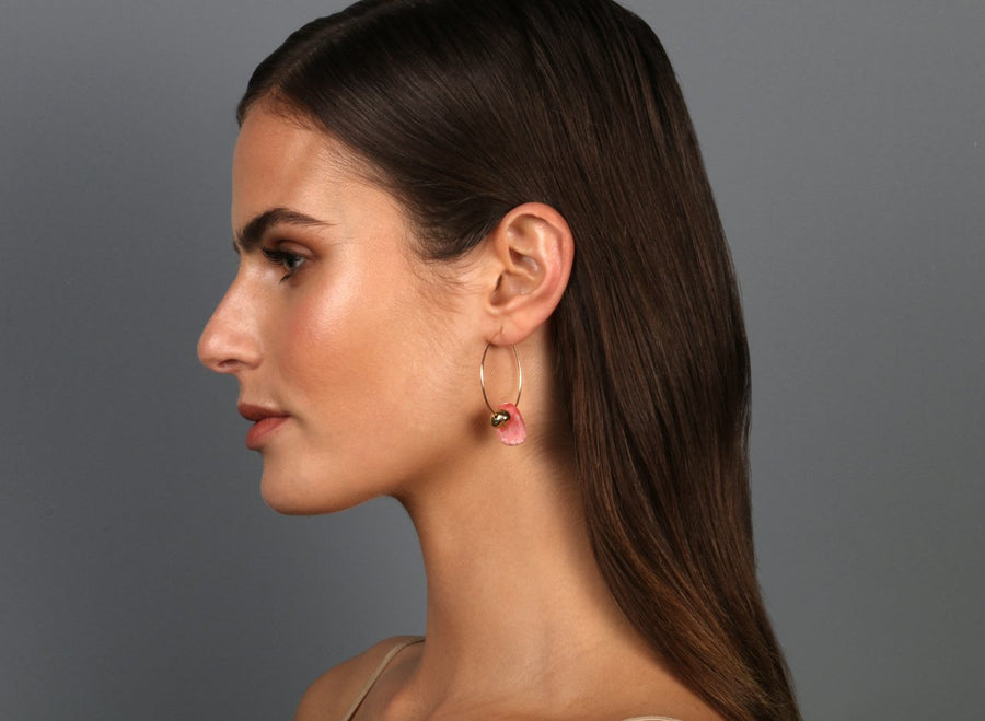 Joie De Vivre Hoop Earrings - Pink Guava