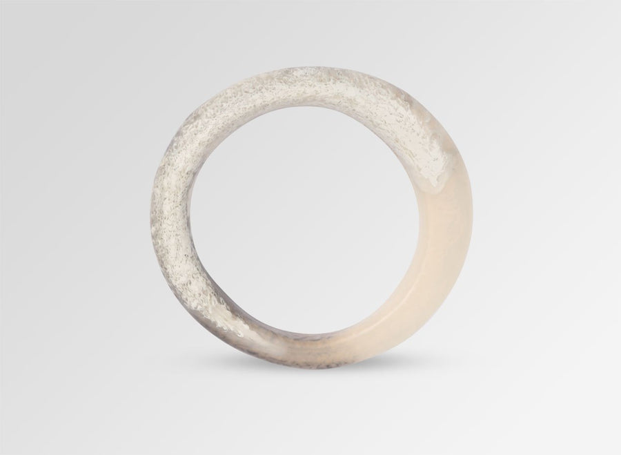 Small Resin Organic Bangle - Sandy Pearl