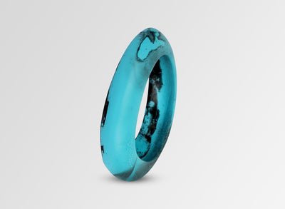 Small Resin Rock Bangle - Dark Turquoise