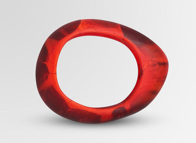 Small Resin Rock Bangle - Blood Orange