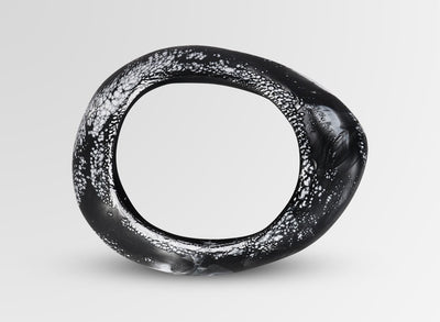 Small Resin Rock Bangle - Black Marble