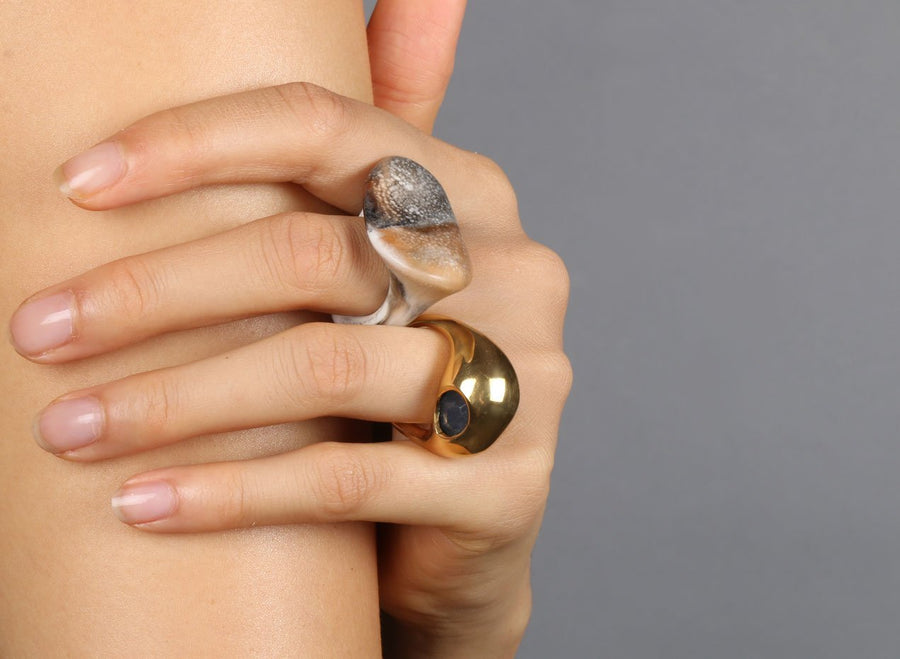 Louise Olsen Gold Cocoon Ring - Blue Agate