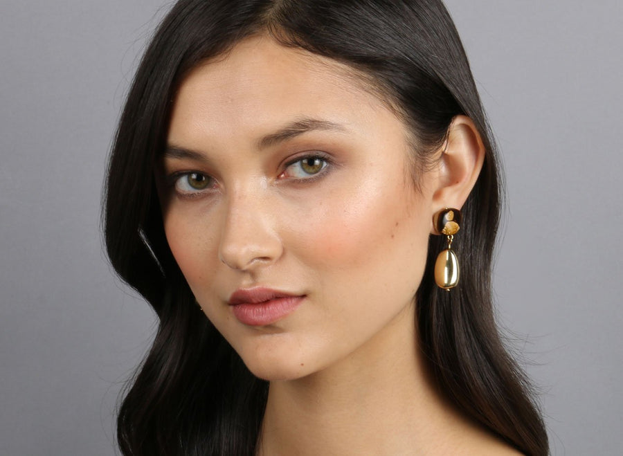 Brass Mineral Short Drop Earrings - Dark Horn