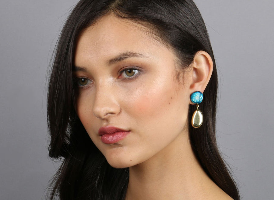 Brass Mineral Short Drop Earrings - Moody Blue
