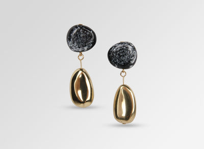 Brass Mineral Short Drop Earrings - Black Marble