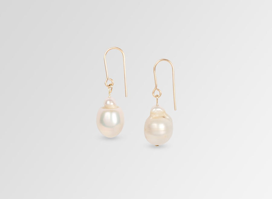 Short Organic Pearl Drop Earrings