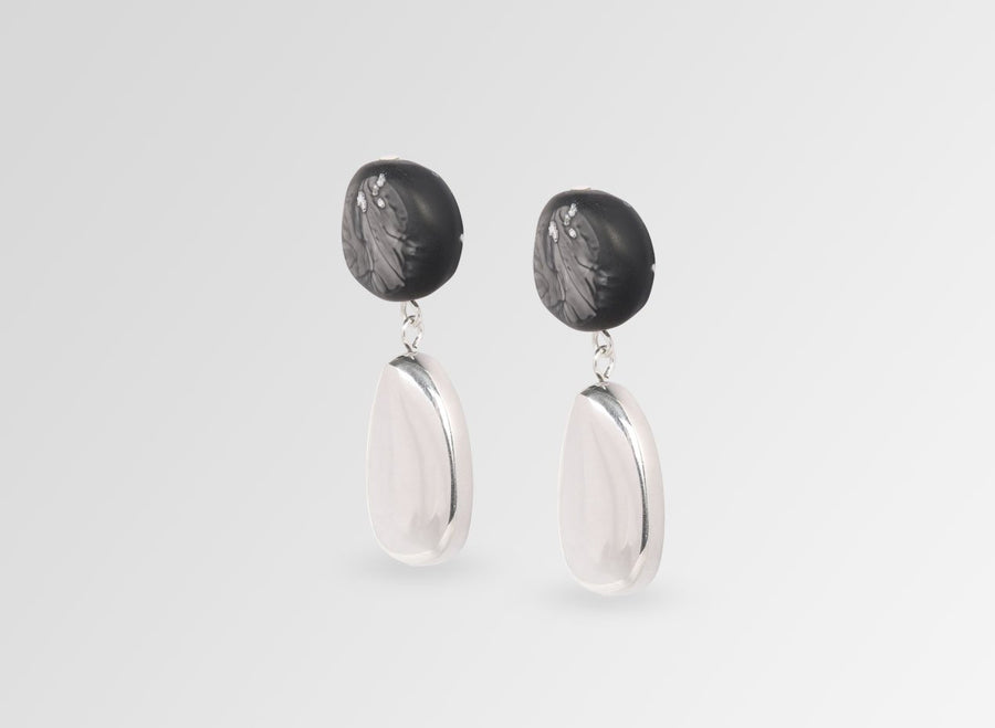Silver Mineral Short Drop Earrings - Black Marble