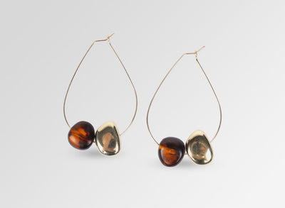 Resin Mineral Hoop Earrings - Tortoiseshell