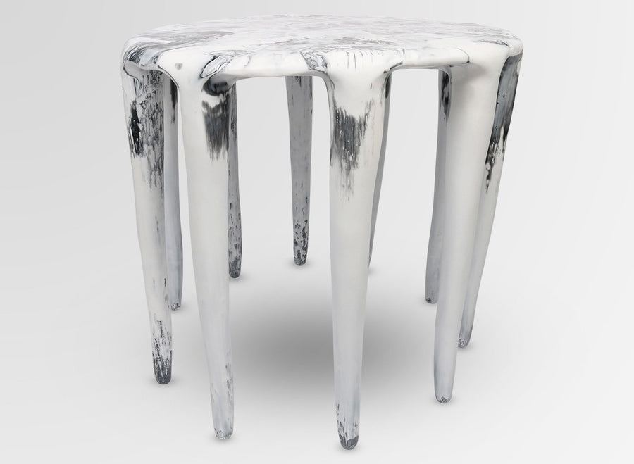Large Liquid Moon Side Table - White Marble