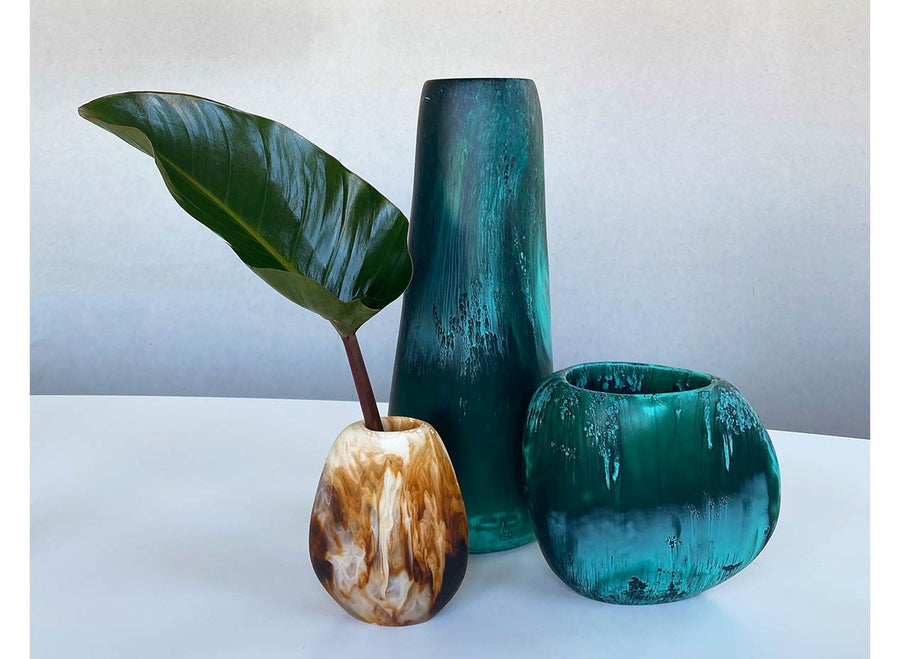 Tall Resin Pebble Vase - Forest
