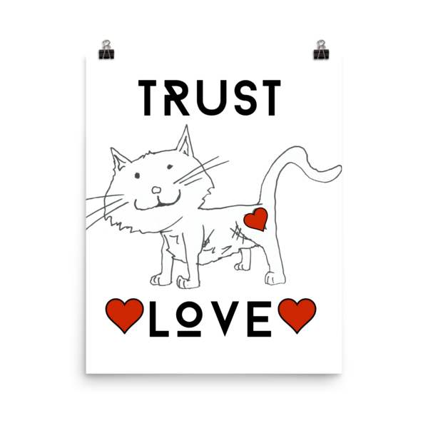Trust Love Cat Poster - Finnigan Note - 2