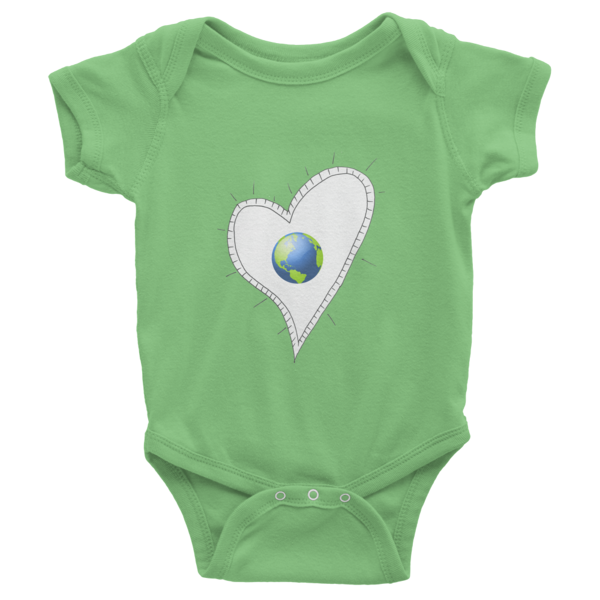 Trust Love Earth Heart Infant short sleeve one-piece - Finnigan Note - 1