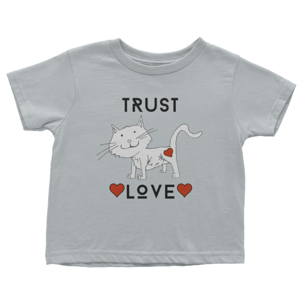 Trust Love Cat sleeve t-shirt - Finnigan Note - 2