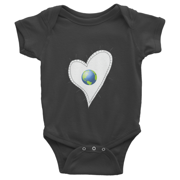 Trust Love Earth Heart Infant short sleeve one-piece - Finnigan Note - 3