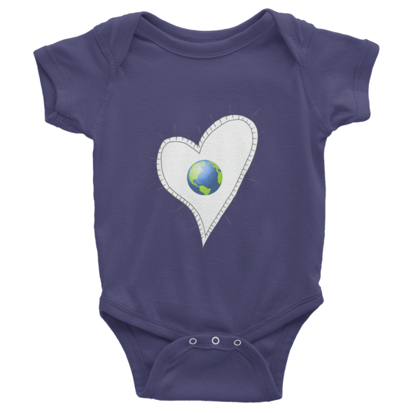 Trust Love Earth Heart Infant short sleeve one-piece - Finnigan Note - 4
