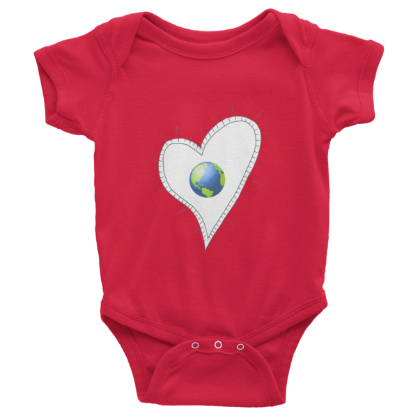 Trust Love Earth Heart Infant short sleeve one-piece - Finnigan Note - 8