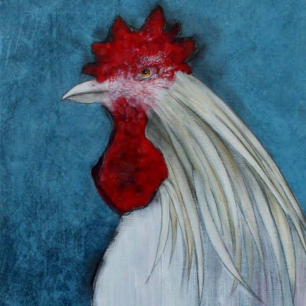 White Rooster on Prussian Blue