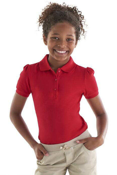 GIRLS SHORT SLEEVE STRETCH POLO XS-XL
