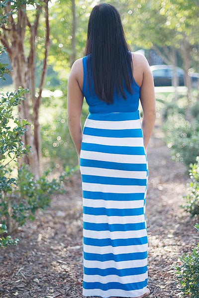 Hazel Maxi Dress, Blue/White