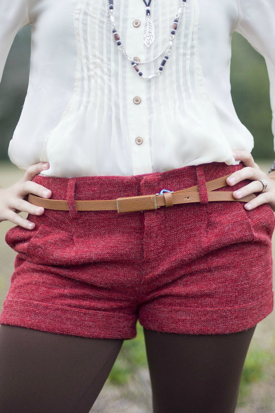 Textured Shorts, Red