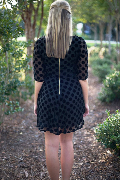 Mink Pink: Laiken Dotted Dress, Black