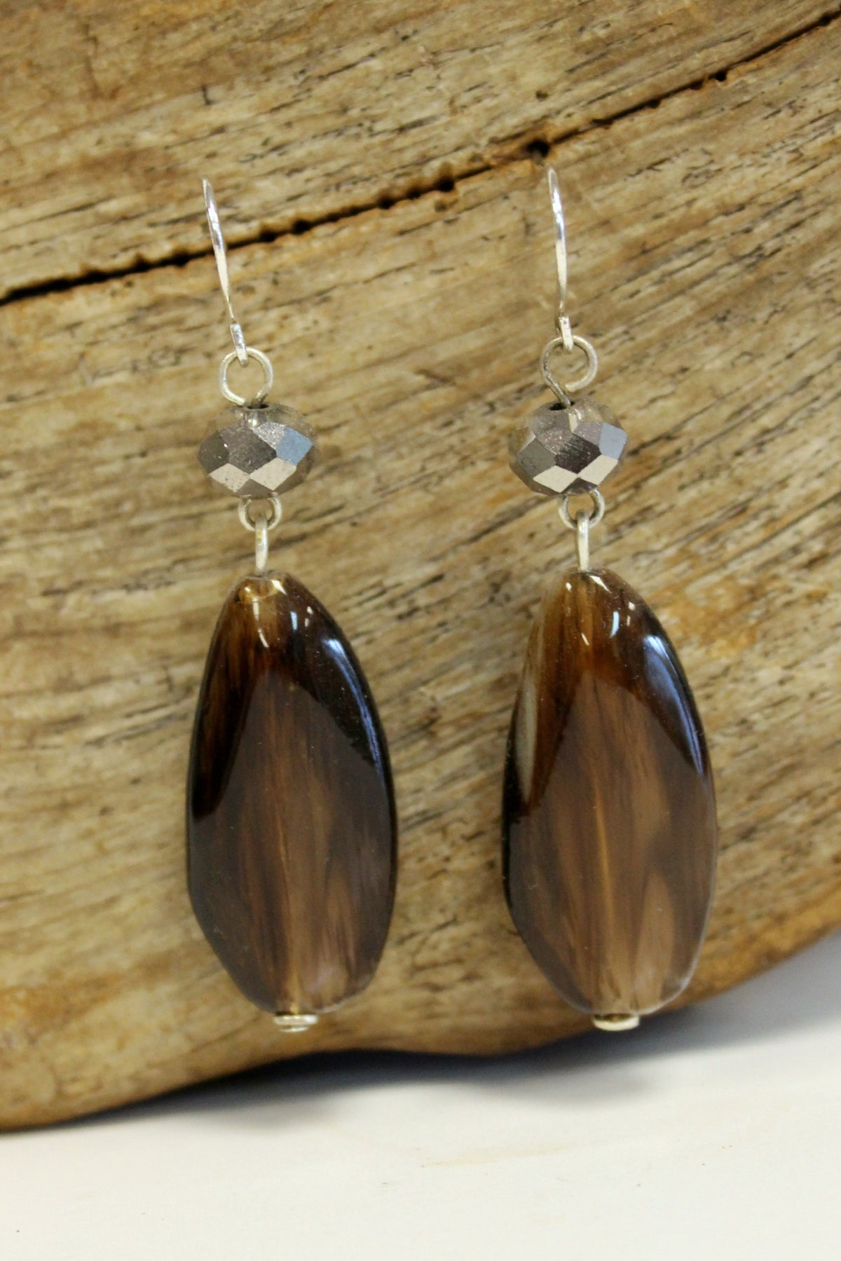 Polished Oval Earrings, Brown
